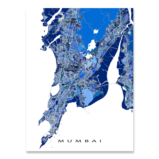 Mumbai, India map art print in blue shapes designed by Maps As Art.