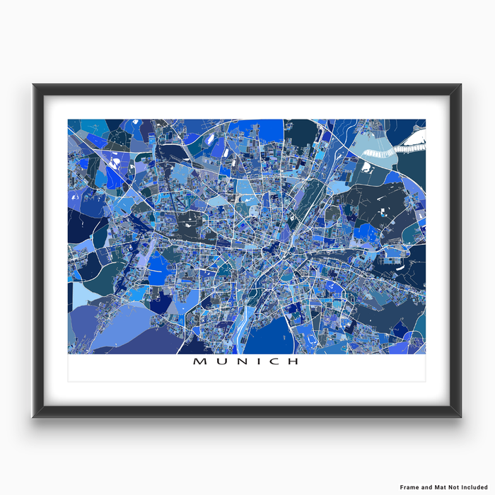 Munich, Germany map art print in blue shapes designed by Maps As Art.