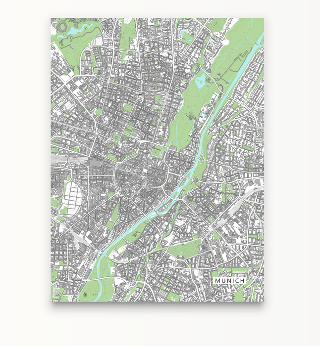 Munich, Germany map art print with city streets and buildings designed by Maps As Art.