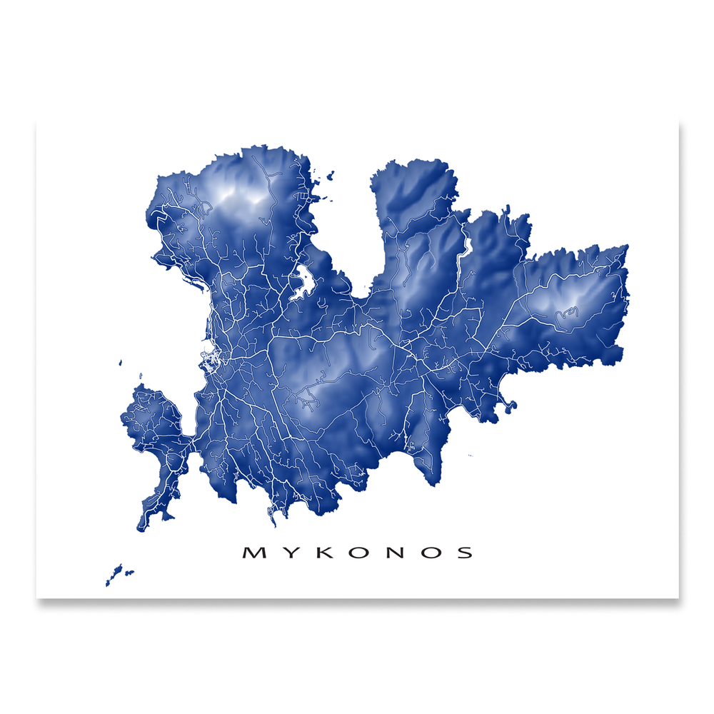 Mykonos, Greece map print with natural landscape and main island streets in Navy designed by Maps As Art.