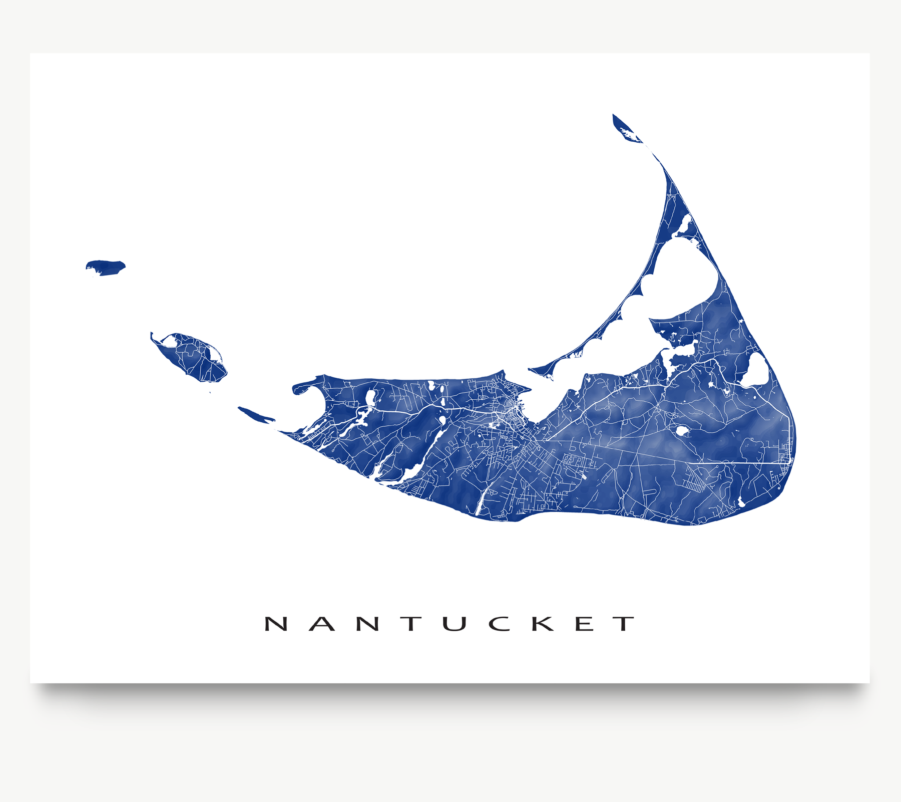 Nantucket island, Massachusetts map print with natural landscape and main roads in Navy designed by Maps As Art.