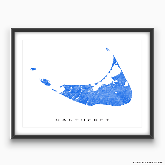 Nantucket island, Massachusetts map print with natural landscape and main roads in Blue designed by Maps As Art.