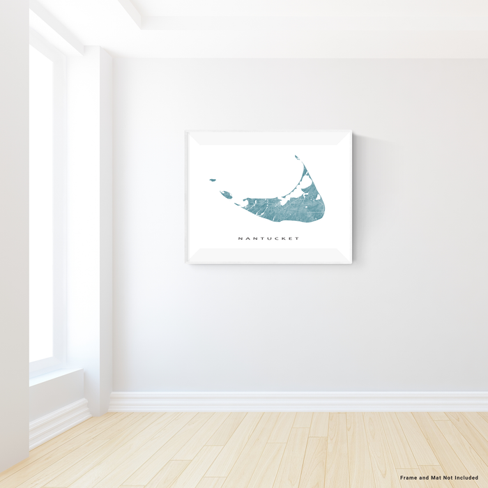 Nantucket island, Massachusetts map print with natural landscape and main roads in Marine designed by Maps As Art.