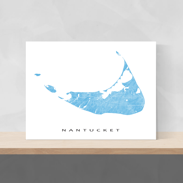 Nantucket island, Massachusetts map print with natural landscape and main roads in Malibu designed by Maps As Art.