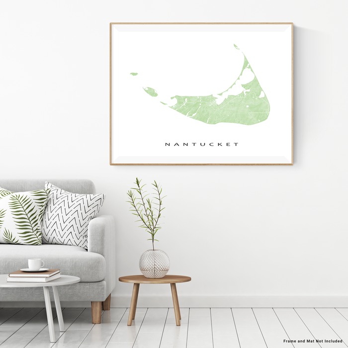 Nantucket island, Massachusetts map print with natural landscape and main roads in Sage designed by Maps As Art.