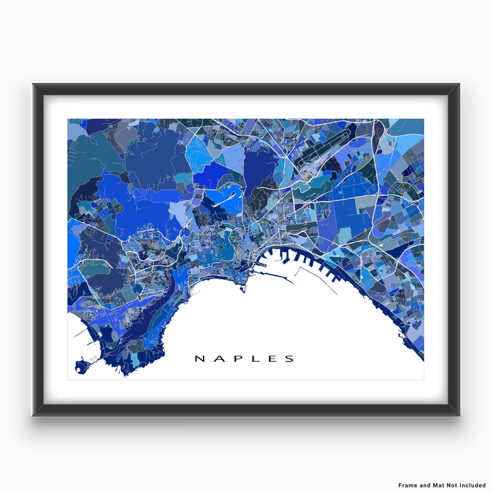 Naples, Italy map art print in blue shapes designed by Maps As Art.