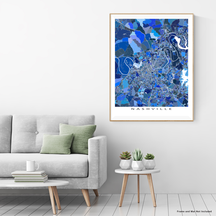 Nashville, Tennessee map art print in blue shapes designed by Maps As Art.