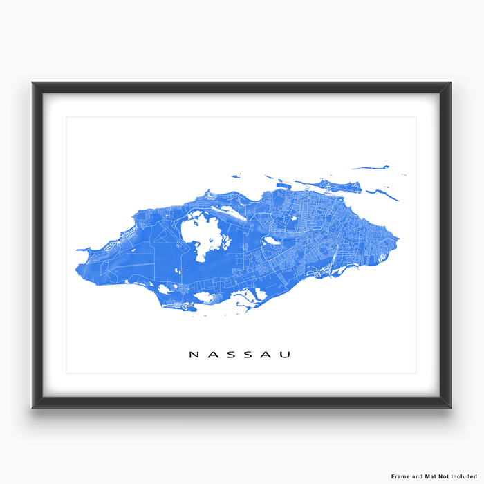 Nassau, The Bahamas map print with natural landscape and main island streets in Blue designed by Maps As Art.