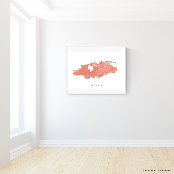 Nassau, The Bahamas map print with natural landscape and main island streets in Terracotta designed by Maps As Art.
