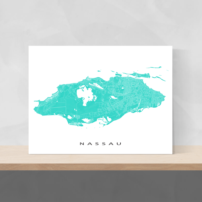 Nassau, The Bahamas map print with natural landscape and main island streets in Turquoise designed by Maps As Art.
