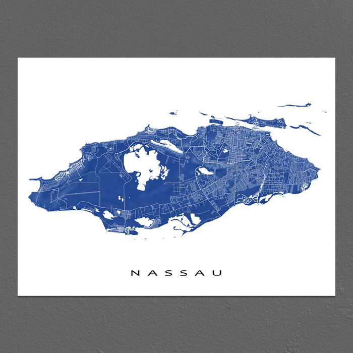 Nassau, The Bahamas map print with natural landscape and main island streets in Navy designed by Maps As Art.