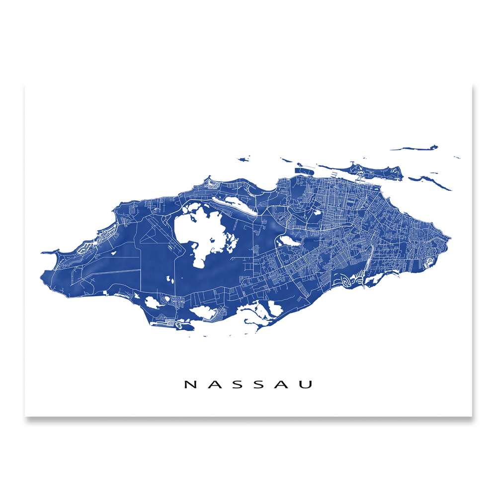 Nassau Map Print, Bahamas, Colors