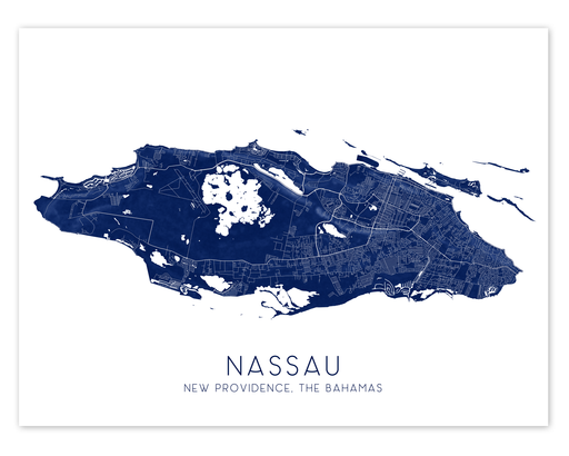 Nassau, New Providence island, The Bahamas map print in Midnight by Maps As Art.