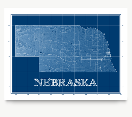 Nebraska state blueprint map art print designed by Maps As Art.