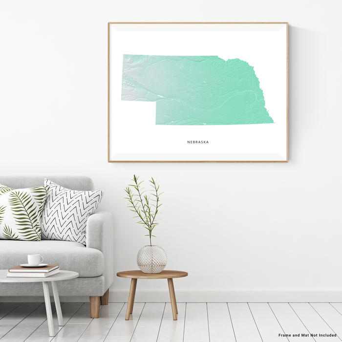 Nebraska state map print with natural landscape in aqua tints designed by Maps As Art.