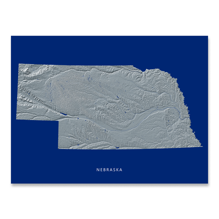Nebraska state map print with natural landscape in greyscale and a navy blue background designed by Maps As Art.