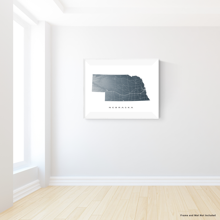 Nebraska state map print with natural landscape and main roads in Slate designed by Maps As Art.
