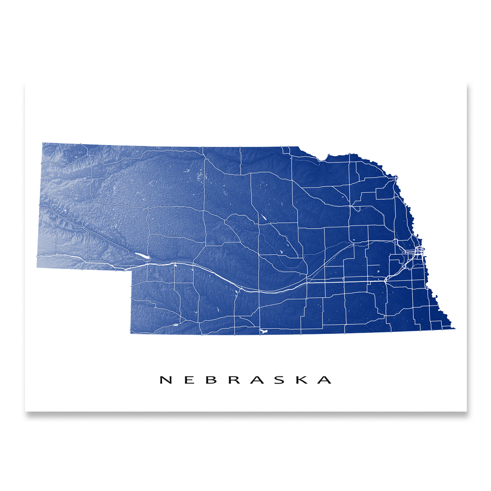 Nebraska state map print with natural landscape and main roads in Navy designed by Maps As Art.
