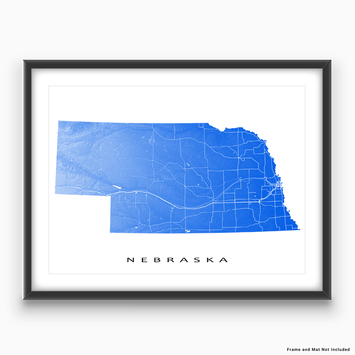 Nebraska state map print with natural landscape and main roads in Blue designed by Maps As Art.