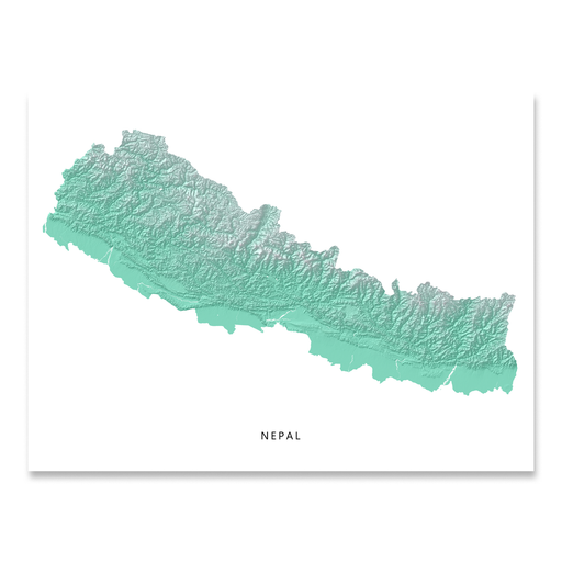 Nepal map print with natural landscape in aqua tints designed by Maps As Art.