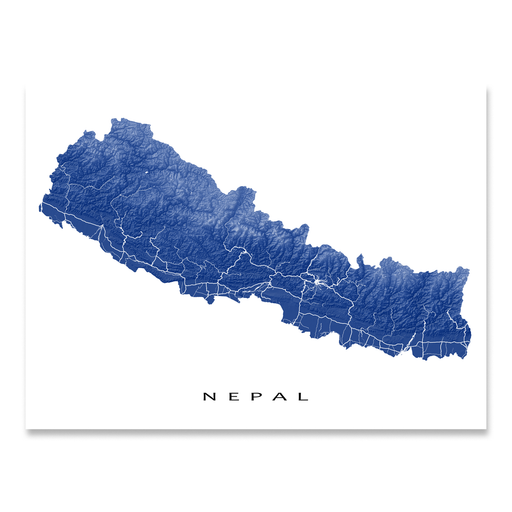 Nepal map print with natural landscape and main roads in Navy designed by Maps As Art.