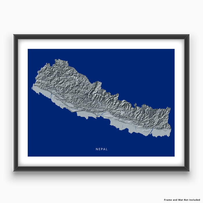 Nepal map print with natural landscape in greyscale and a navy blue background designed by Maps As Art.
