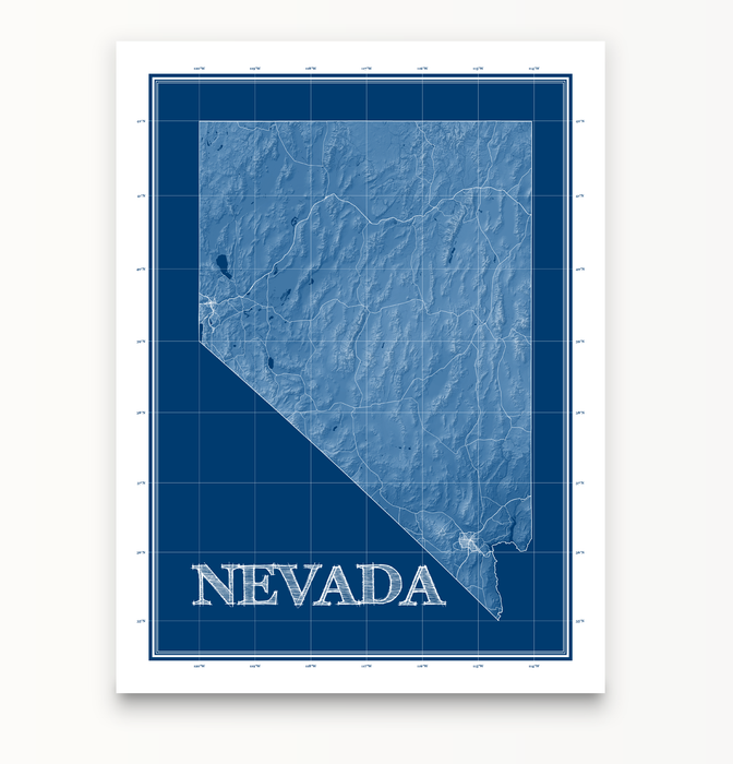 Nevada state blueprint map art print designed by Maps As Art.