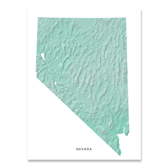 Nevada Map Print, Aqua Landscape
