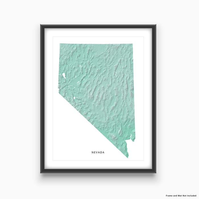 Nevada state map print with natural landscape in aqua tints designed by Maps As Art.