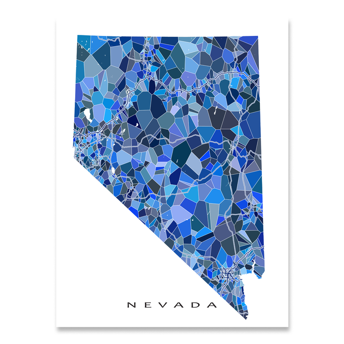 Nevada state map art print in blue shapes designed by Maps As Art.
