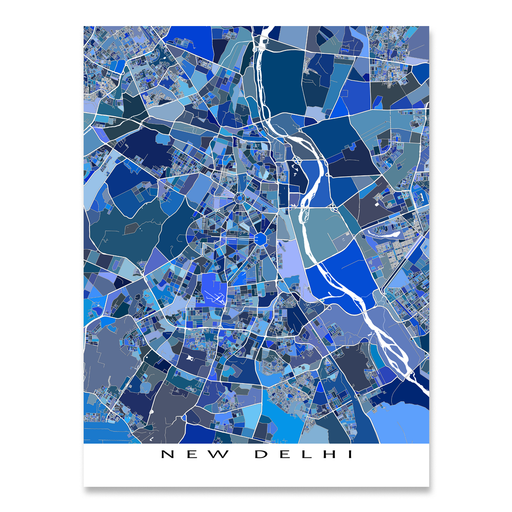 New Delhi, India map art print in blue shapes designed by Maps As Art.