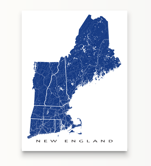 Maps As Art New England map print in Navy.