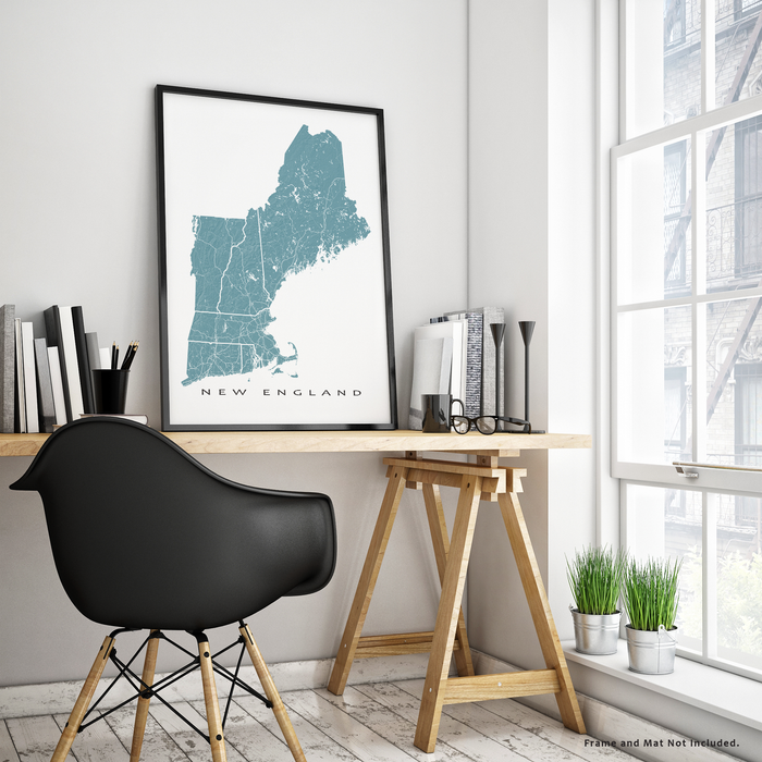 Maps As Art New England map print in Marine.