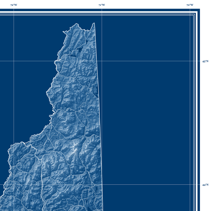 New Hampshire state blueprint map art print designed by Maps As Art.
