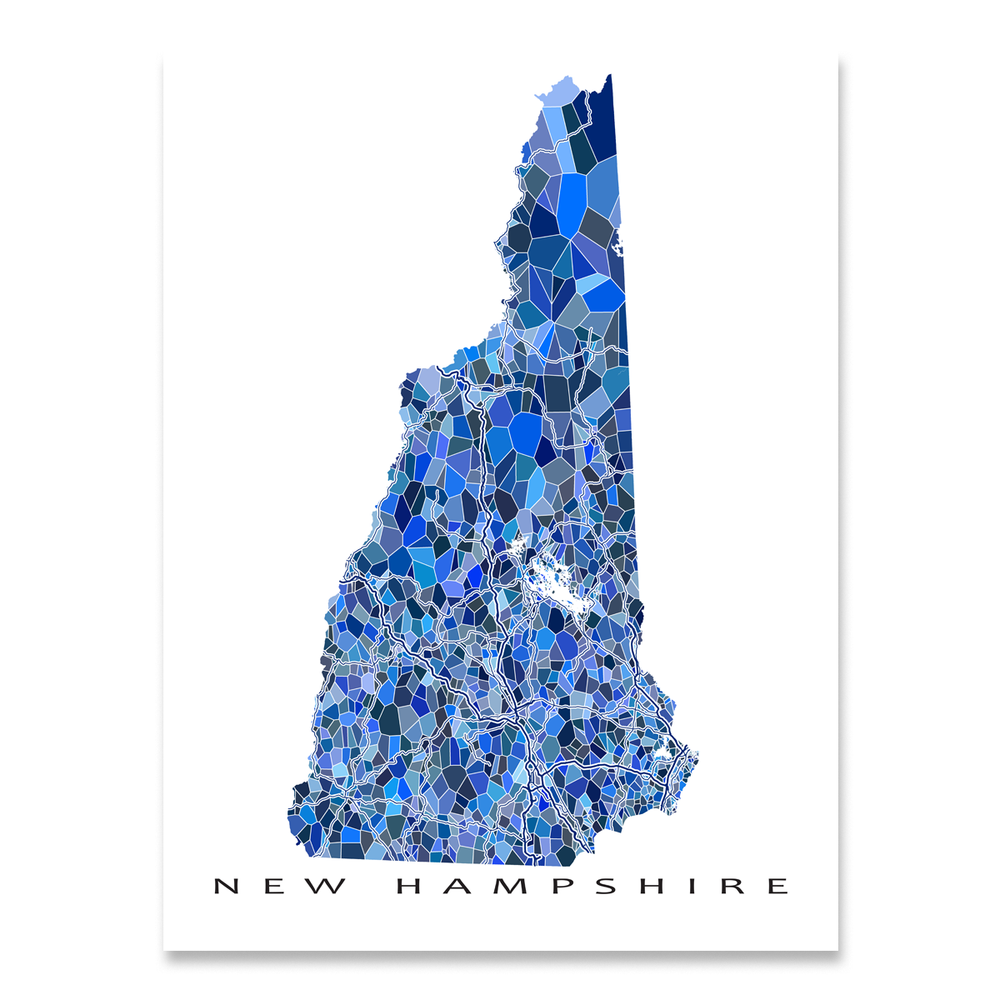 New Hampshire state map art print in blue shapes designed by Maps As Art.