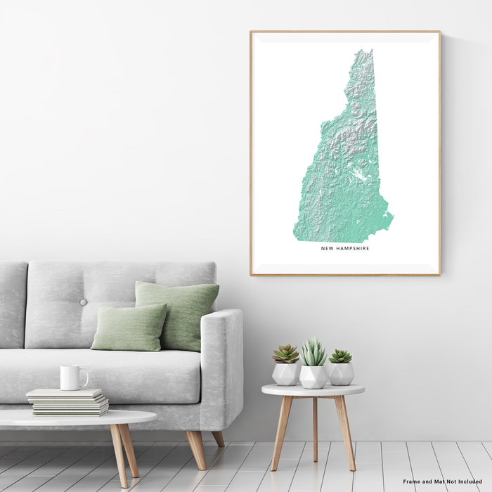 New Hampshire state map print with natural landscape in aqua tints designed by Maps As Art.