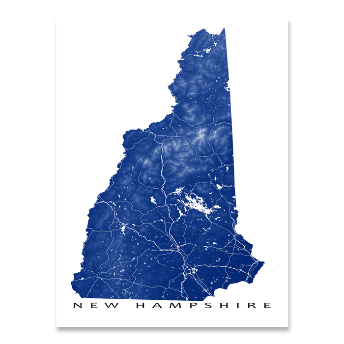 New Hampshire Map Print Usa State Nh Maps As Art