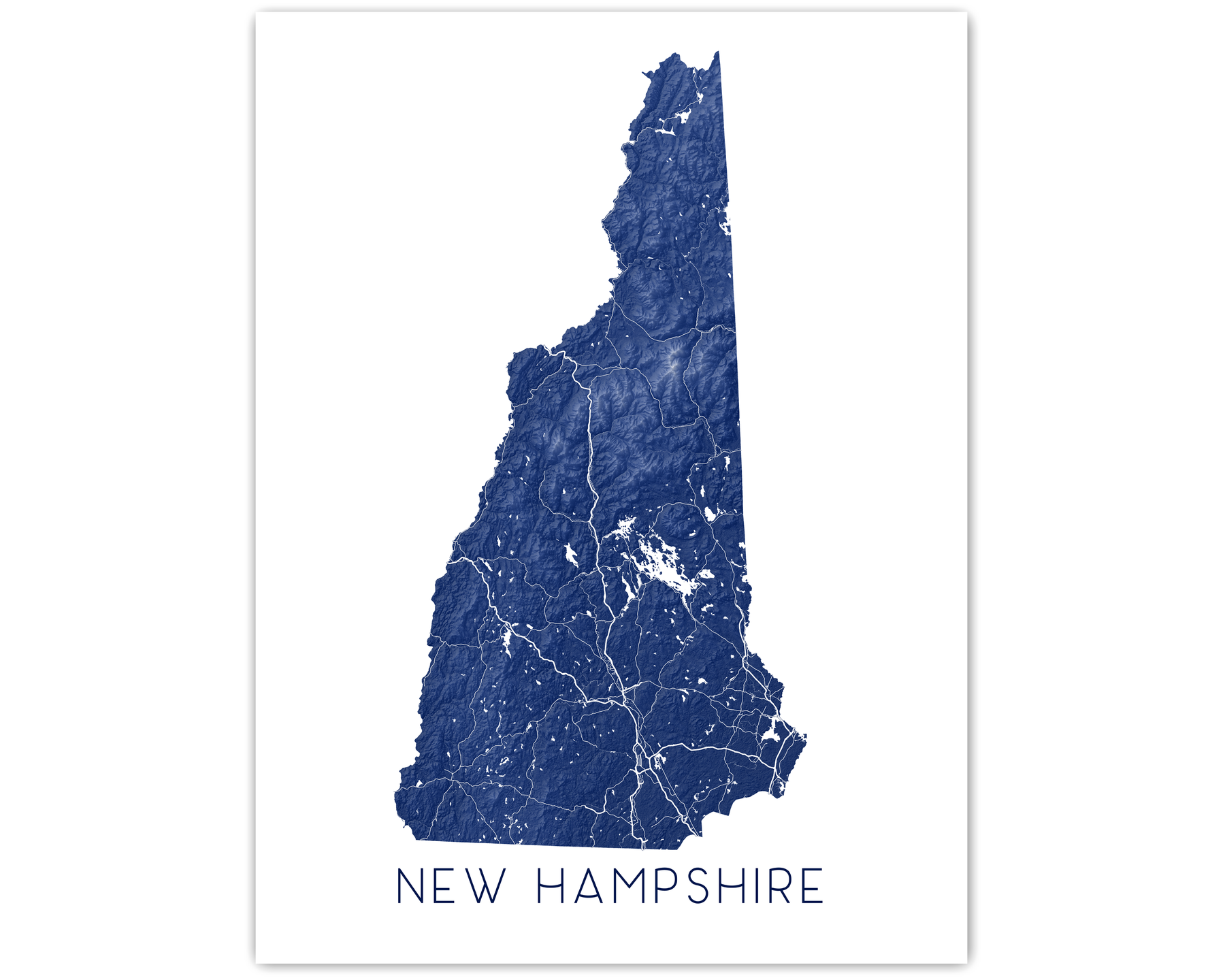 New Hampshire state map print in Midnight by Maps As Art.