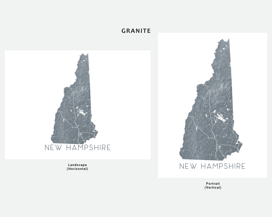 New Hampshire state map print in Granite by Maps As Art.