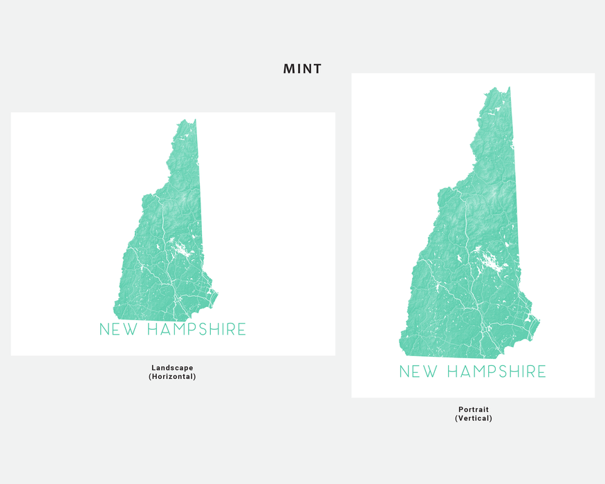 New Hampshire state map print in Mint by Maps As Art.