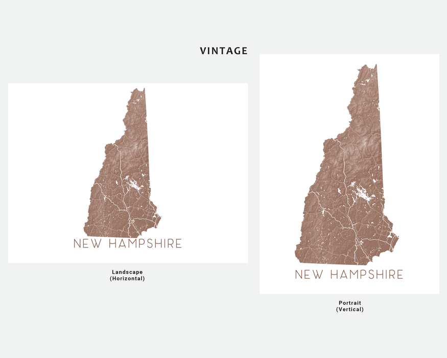 New Hampshire state map print in Vintage by Maps As Art.