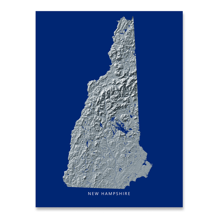 New Hampshire state map print with natural landscape in greyscale and a navy blue background designed by Maps As Art.