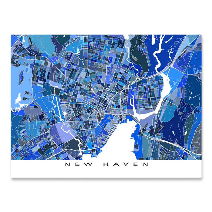 New Haven, Connecticut map art print in blue shapes designed by Maps As Art.