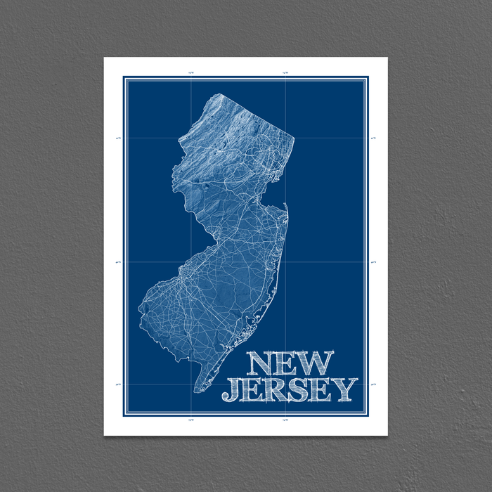 New Jersey state blueprint map art print designed by Maps As Art.