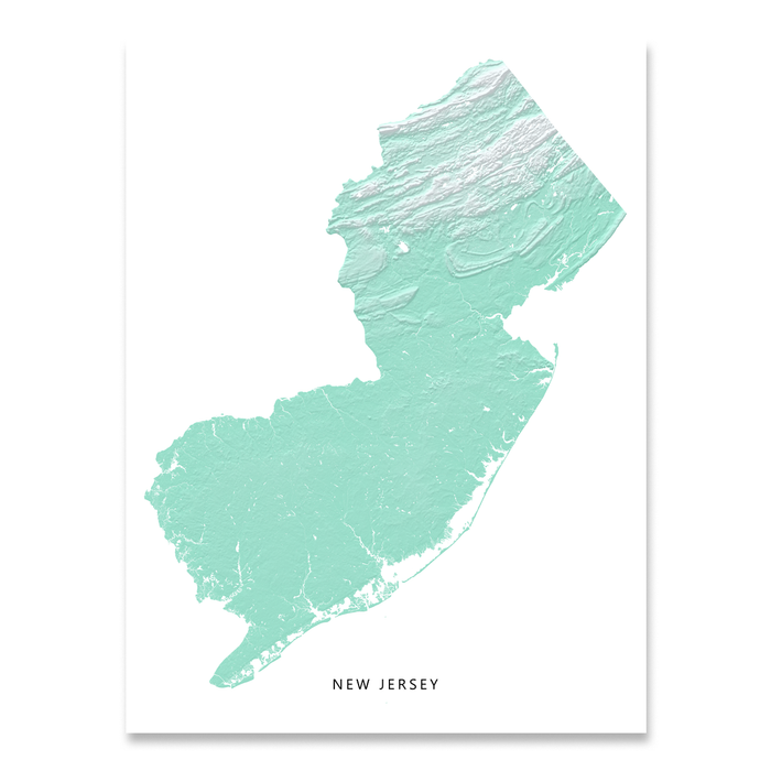 New Jersey Map Print, Aqua Landscape