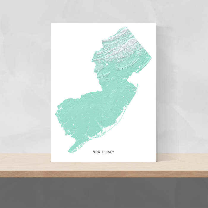 New Jersey state map print with natural landscape in aqua tints designed by Maps As Art.