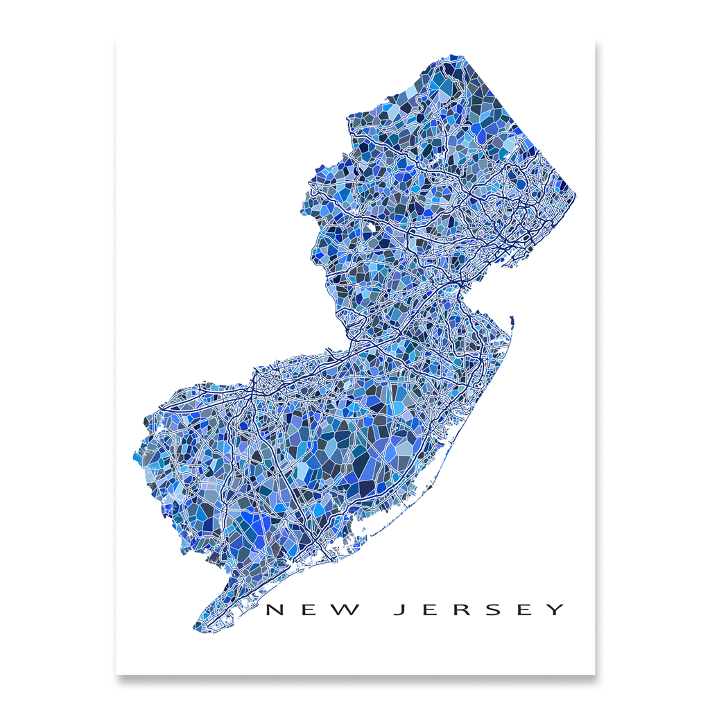 New Jersey Map Print, NJ State