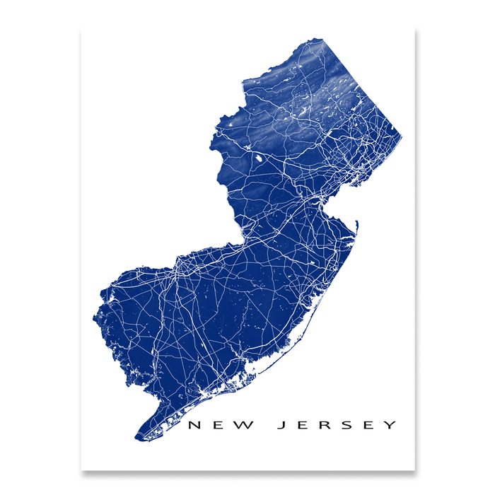 New Jersey state map print with natural landscape and main roads in Navy designed by Maps As Art.