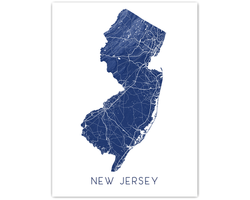 New Jersey state map print in Midnight by Maps As Art.