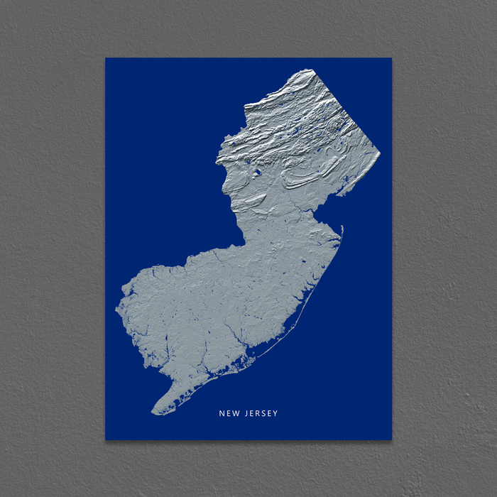 New Jersey Map Print, Navy Landscape